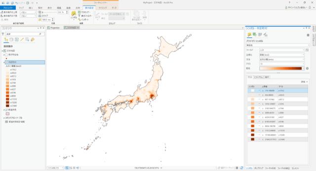日本の市区町村の人口密度(自然分類 12分類)