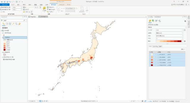 日本の市区町村の人口密度(自然分類 5分類)