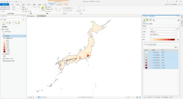 日本の市区町村の人口密度(自然分類 7分類)