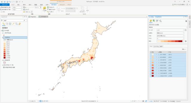 日本の市区町村の人口密度(自然分類 9分類)