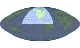 ホモロサイン図法(標準緯線:西経100度)