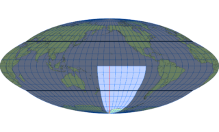 ホモロサイン図法(標準緯線:西経160度)