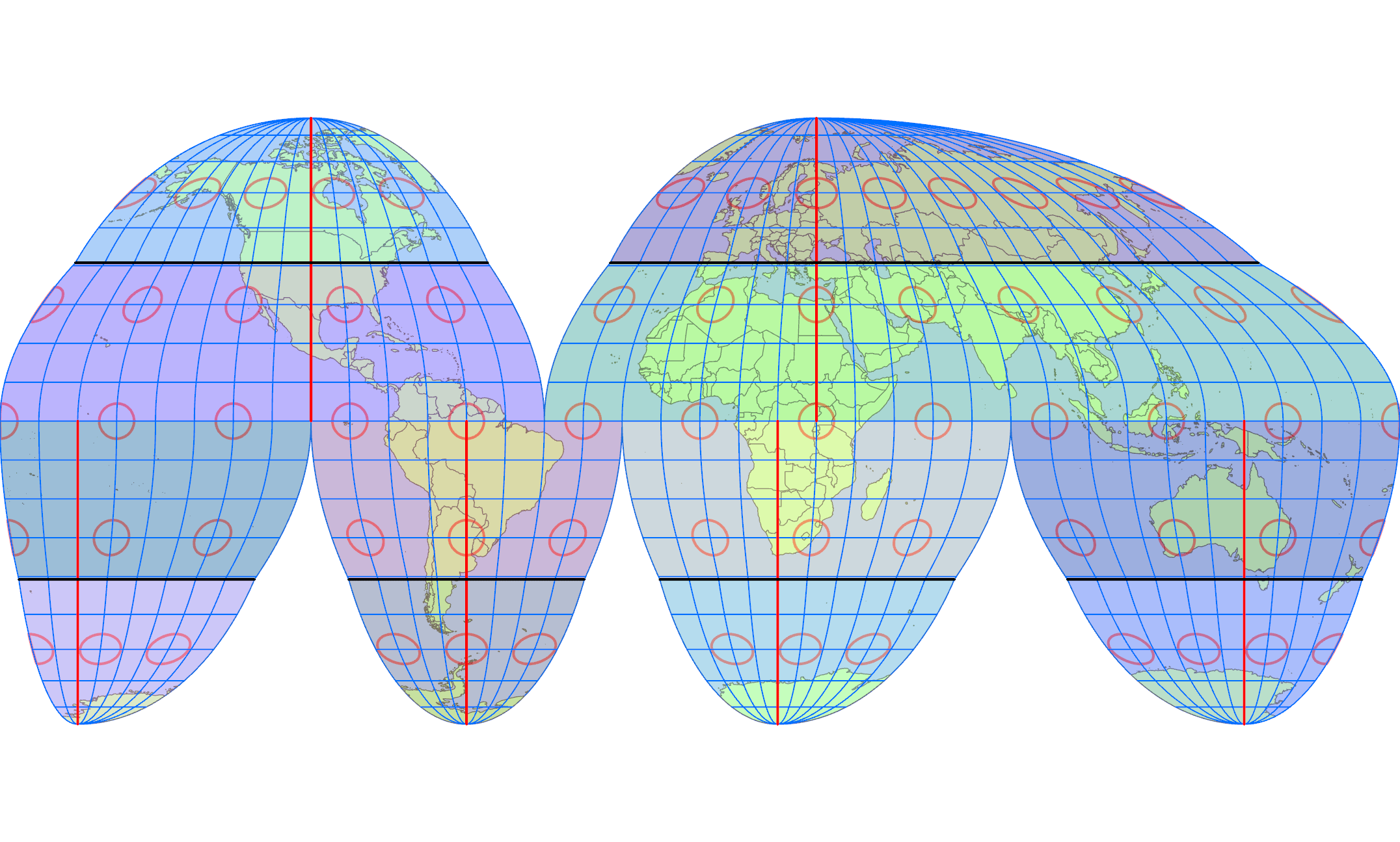 グード図法の中央子午線と断裂区域