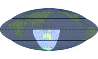 ホモロサイン図法(標準緯線:東経140度)