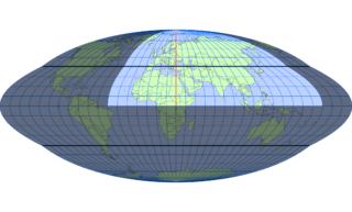 ホモロサイン図法(標準緯線:東経30度)