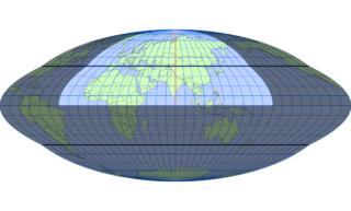 ホモロサイン図法(標準緯線:東経80度)