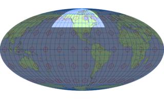 モルワイデ図法(標準緯線:西経100度)
