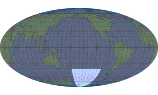 モルワイデ図法(標準緯線:西経160度)
