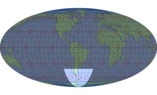 モルワイデ図法(標準緯線:西経60度)
