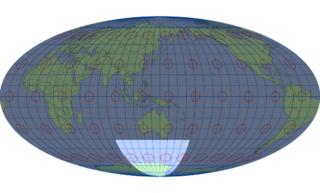 モルワイデ図法(標準緯線:東経140度)