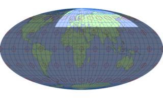 モルワイデ図法(標準緯線:東経30度)
