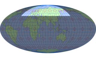 モルワイデ図法(標準緯線:東経80度)