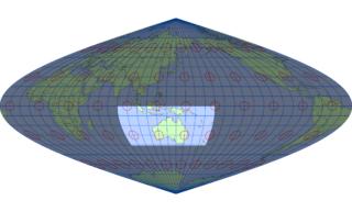 サンソン図法(標準緯線:東経140度)