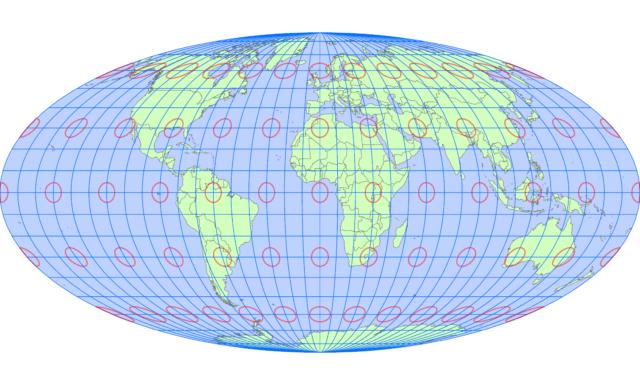 モルワイデ図法(中央子午線 経度0度)