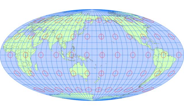 モルワイデ図法(中央子午線 東経160度)