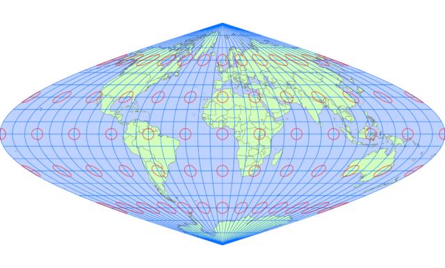 サンソン図法(中央子午線 経度0度)