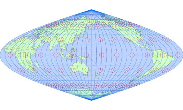 サンソン図法(中央子午線 東経160度)
