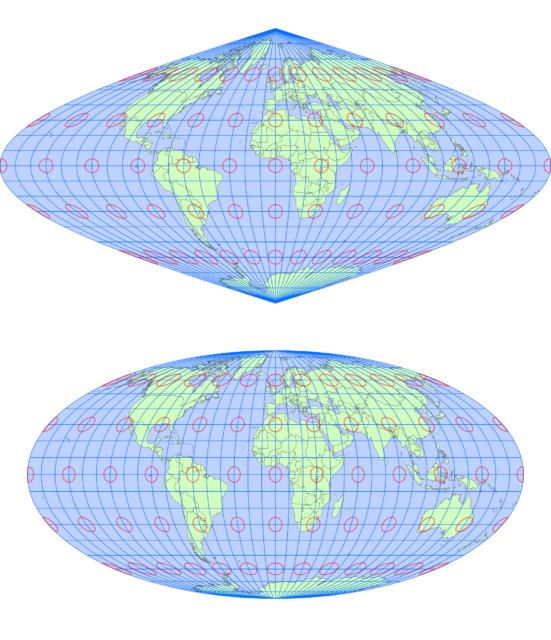 サンソン図法とモルワイデ図法(同一縮尺)