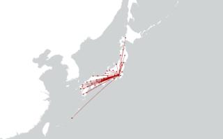 東京から各県庁所在地への測地線