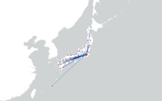 東京から各県庁所在地への等角コース