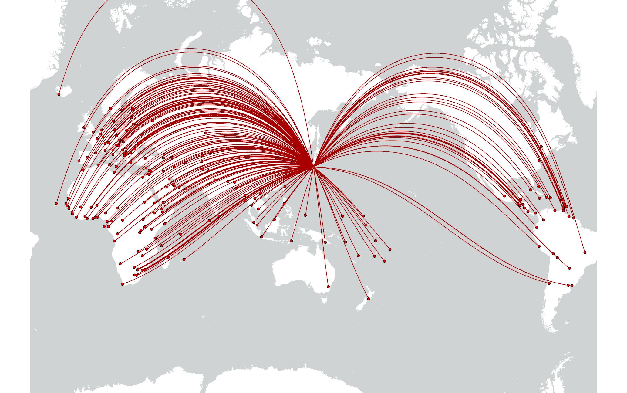 東京から各国首都への測地線