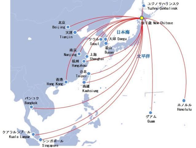 新千歳空港の就航図(Webサイトより引用)