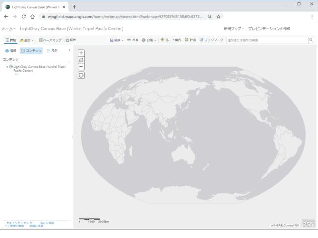 マップ ビューザー上にヴィンケル図法(第3図法)で表示