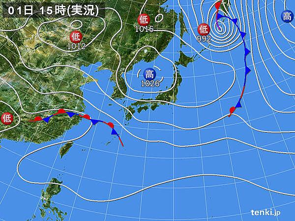 日本気象協会 実況天気図(2021年4月1日)
