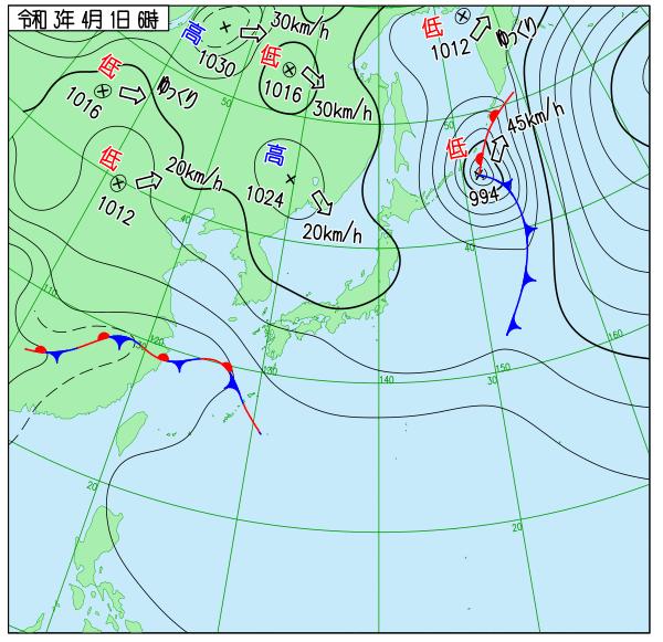 気象庁の天気図(2021年4月1日)